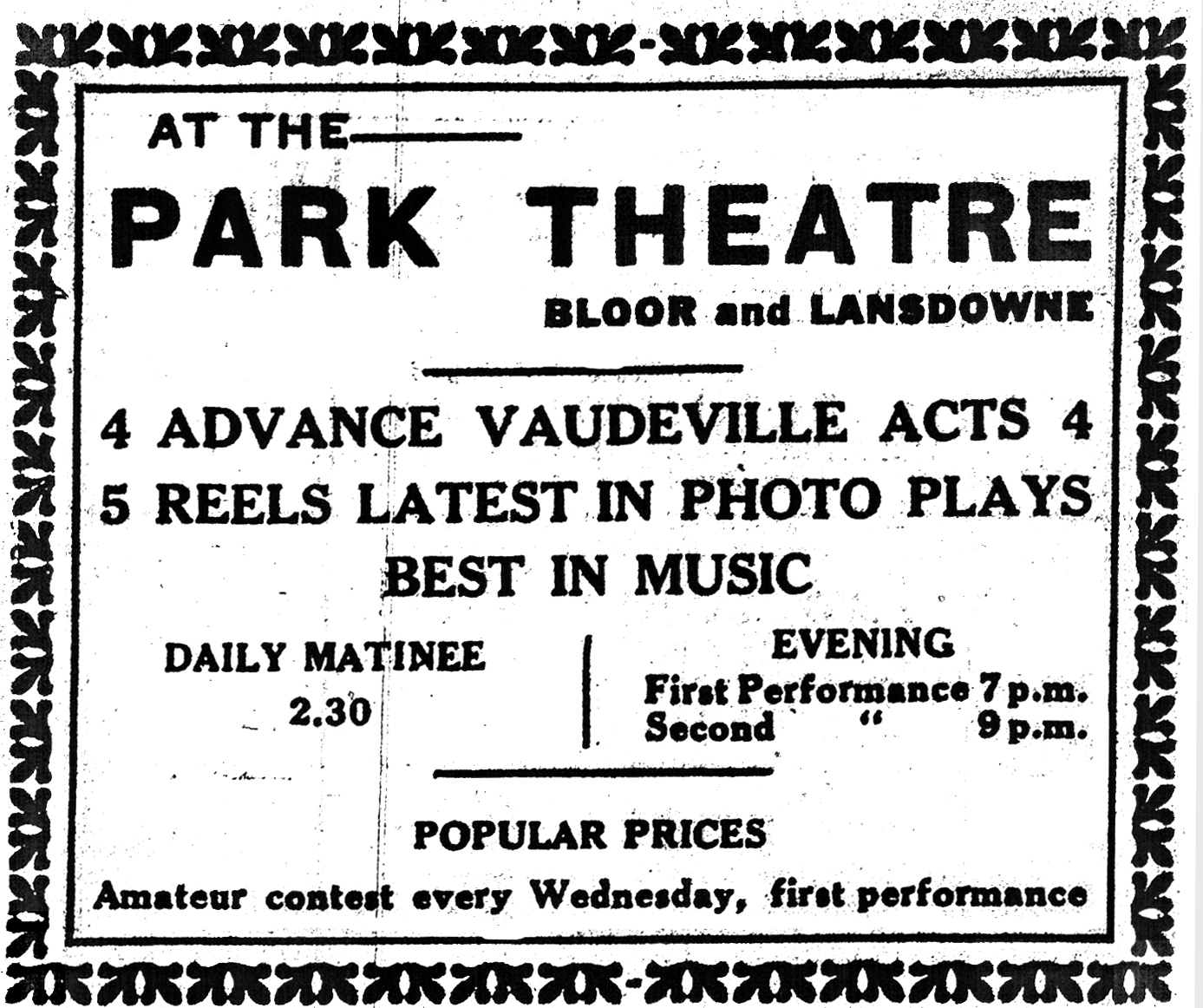 Early Cinema Filmography of Ontario (ECFO) - Ontario Theatres